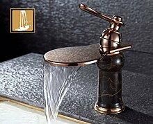 MangeooWasserfall Wasserhahn, heißen und kalten Becken aus Kupfer Wasserhahn, Retro kreative Kunst Wasserhahn, Waschbecken, waschen Sie Gesicht, Dali Stein, kurzen Absatz