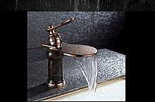 MangeooWasserfall Wasserhahn, heißen und kalten Becken aus Kupfer Wasserhahn, Retro kreative Kunst Wasserhahn, Waschbecken, waschen Sie Gesicht, Dali Stein, hoher Bereich