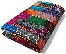 Manglam Arts Patchwork-Tagesdecke, Queen Size,
