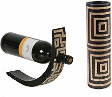 Mangoholz Flaschenhalter & Vase Quadrate Set '