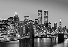 Manhattan Skyline at Night - Vlies Foto-Tapete