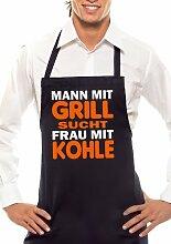 MANN MIT GRILL SUCHT - Zweifarbig - Grillschürze Schwarz / Orange-Weiss