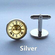 Manschettenknöpfe mit Uhr, 16 mm, Glas, für