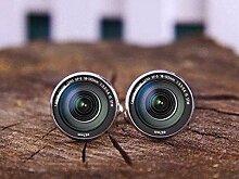 Manschettenknöpfe, Vintage-Kameraobjektiv, Glas,