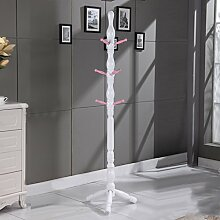 Mantel Racks Landung Massivholz Moderne Kleiderbügel Schlafzimmer Wohnzimmer Einfache europäische Stil ( Farbe : White pink )