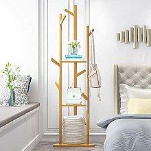 Mantelbaum Bambus Kleiderbügel mit 3 Regalen