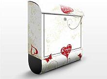 mantiburi Design Briefkasten Heart Background 39x46x13cm Edelstahl