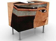 mantiburi Design Waschtisch Cleopatra  Waschbeckenunterschrank nicht spiegel-/seitenverkehrt / Vollflächiger Premium Print / 60x55x35cm