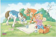 mantiburi FensterBild Prinzessin Emmy - Picknick mit Caesar & Sunny Kinder Zimmer 216x144cm / nicht spiegel-/seitenverkehr