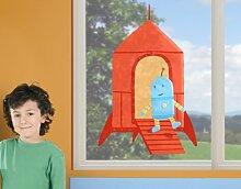 mantiburi FensterSticker Akkuratus - Rakete Roboter 120x180cm / nicht spiegel-/seitenverkehr