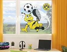 mantiburi FensterSticker Borussia Dortmund - Emma schießt BVB 120x122cm / nicht spiegel-/seitenverkehr