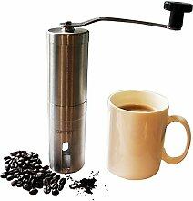 Manuelle 19cm Handkaffeemühle Kaffeemaschine aus Edelstahl von Kurtzy - Verstellbarer Griff - Bohnen, Kräuter, Salz und Pfeffermühle - Einfach zu Reinigendes Küchengerät - Professionelle Kaffeemühle