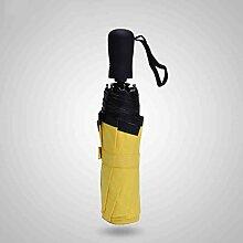 Manueller Faltender sonniger Regenschirm-Vinylschatten Anti-UV Sun-Regenschirm-weiblicher ultra-heller Sonnenschutz-Festkörper ( Farbe : Gelb )