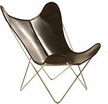 Manufakturplus - Butterfly Chair Hardoy - Leder - Edelstahl - Blankleder braun - Jorge Ferrari-Hardoy - Design - Sessel