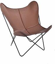 Manufakturplus - Butterfly Chair Hardoy - Leder - Edelstahl - Neckleder coffee - Jorge Ferrari-Hardoy - Design - Sessel