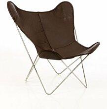 Manufakturplus - Butterfly Chair Hardoy - Leder - Stahl verchromt - Neckleder braun - Jorge Ferrari-Hardoy - Design - Sessel