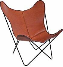 Manufakturplus - Butterfly Chair Hardoy - Leder - Stahl weiß - Blankleder cognac - Jorge Ferrari-Hardoy - Design - Sessel