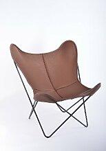 Manufakturplus - Butterfly Chair Hardoy - Leder - Stahl weiß - Neckleder coffee - Jorge Ferrari-Hardoy - Design - Sessel