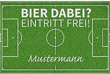 Manutextur Fußmatte mit Namen - Motiv Fußball -
