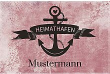 Manutextur Fußmatte mit Namen - Motiv Heimathafen
