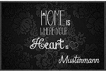 Manutextur Fußmatte mit Namen - Motiv Home -