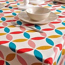 Maoge Einfache moderne familie tischtuch ländliche tischdecke stoff baumwolle leinen teetisch sauber längliche tischdecke-verschiedene stile.-E 140x220cm(55x87inch)