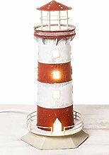 mare-me Leuchtturm Lampe rot-weiß