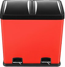 Mari Home Rot 60 Liter Stahl Mülltrenner Mülleimer Treteimer mit Inneneimer (mit 2 Kammern, 2x30 L)