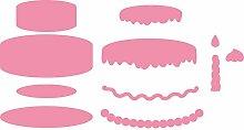 Marianne Design COL1322 Collectables Kuchen - Stempel und Stanzschablone für die Kartengestaltung und Scrapbooking, Metal, rosa, 6,5 x 2,2 x 0,4 cm