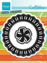 Marianne Design CR1350 Craftables Band mit Spitzen und Rosette - Stanzschablone und Prägeschablone für die Kartengestaltung und Scrapbooking, Steel, grau, 11 x 11 x 0,3 cm