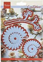 Marianne Design MARLR0257 Creatable Zweig mit Blume 2 Stanzform - Cutting Die, Metall, blau, 20 x 9 x 0.5 cm