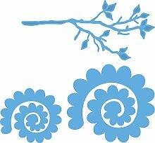 Marianne Design MDLR0256 Creatables Zweig mit Blume 1 - Stanzschablone und Prägeschablone für die Kartengestaltung / Scrapbooking, Metall, blau, 19 x 13.3 x 0.2 cm