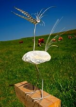 Mariechen stehend Gartenfigur und Gartendeko als Steinvogel aus Edelstahl Größe L 80 cm Design Tiedemann