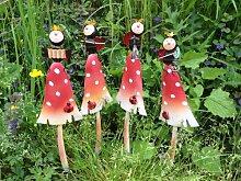 Marienkäfer auf Pilz Gartenstecker 9x5x38cm 4er Se
