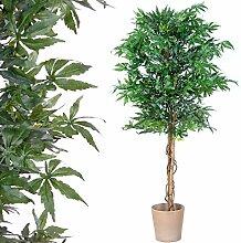 Marihuana Kunstpflanze mit Echtholzstamm Cannabis Pflanze Kunstbaum - 150 cm groß