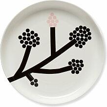 Marimekko - Hortensie Teller Ø 32 cm, schwarz / weiß / rosa