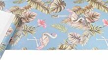 Marineblau/Petrol/Grün Floral Pink Flamingo