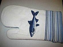Maritim- Ofen-/Grill-Handschuh - gute Wärmeisolierung- Innenseite blau gestepp