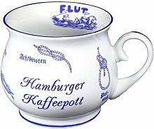 maritim- Porzellan- Tasse, Kaffeepott, bauchiger Becher- Hamburg -deutsches Produktdesign