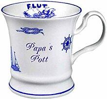Maritim Porzellan- Tasse, Kaffeepott, Becher- Papa's Pott, Innendruck Ebbe und Flut -deutsches Produktdesign