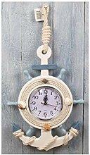 Maritim Uhr Wanduhr Anker Steuerrad zum Hängen GH