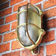 Maritime Außenlampe Aus Messing Riffelglas