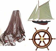 maritime Dekoration- 3er Set- Steuerrad 30 cm, Fischernetz 2,5x 2,5 m + Segelyacht 56 cm für Wand