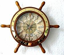 maritime Dekoration Steuerrad aus Holz mit Uhr und Knoten Ø ca. 28cm Messing