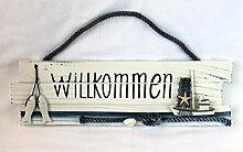 maritime Dekoration Willkommen Türschild Holz