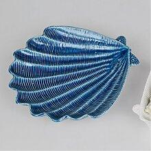 maritime Dekoschale, Teller Muschel D. 21cm blau Keramik Formano F18 (9,95 EUR / Stück)