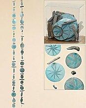 Maritime Girlande Capiz blau ca. 180 cm zwei