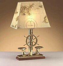 Maritime Lampe Messing Papier Schirm Nautik