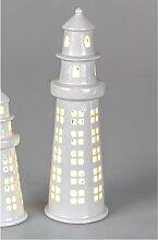 maritime LED Dekofigur Leuchtturm H. 28cm weiß Keramik Formano F18 (12,50 EUR / Stück)