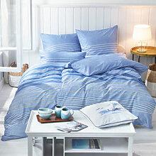 Maritime Streifen-Bettwäsche aus kühlendem